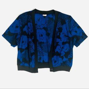 Sweaters - Blue Black Womens Short Sleeve Cardigan Blouse